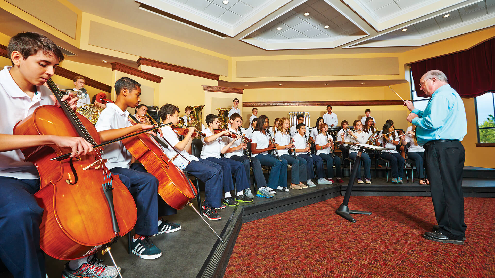 students performing music