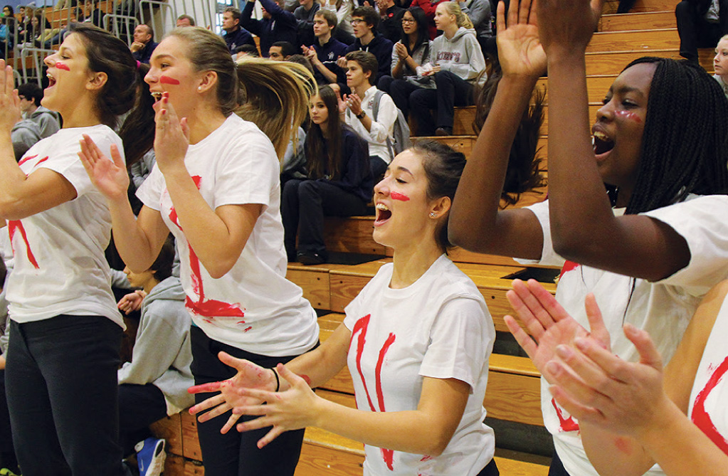 students cheering in stands during a sporting event